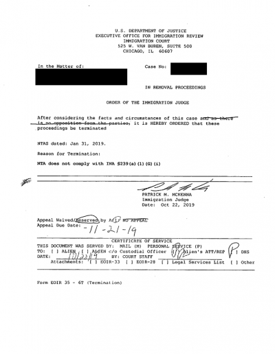 Order of the Immigration Judge to Terminate Removal Proceedings 10-22-2019